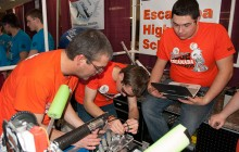 Robomos Drive Team Coach strategizes on how to help team win at FIRST Robotic District Competition