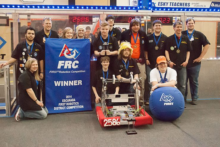 Calumet Copper Bots on winning alliance at Escanaba's FIRST Robotics District Competition