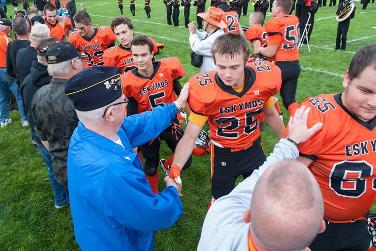 Veterans recognized at Escanaba Eskymo football game