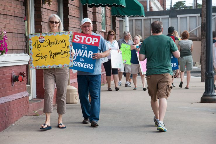 MEA protests Snyder over appeal of reimbursement of teacher withholdings