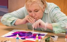 Controlling vibrant, fluid alcohol inks at Bonifas' Senior Art class