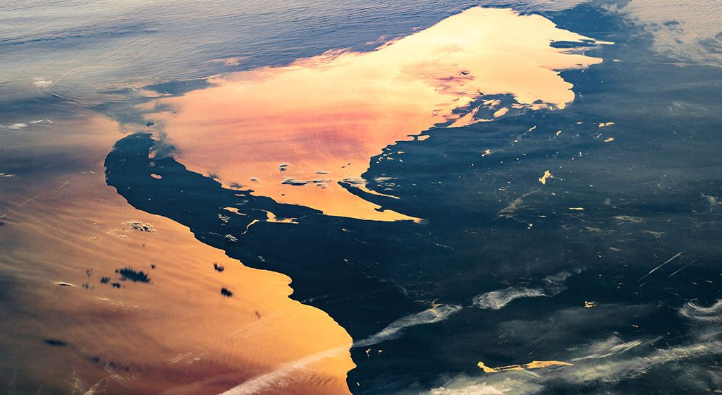 Glimmering photo of Lake Superior and U.P. taken by astronaut