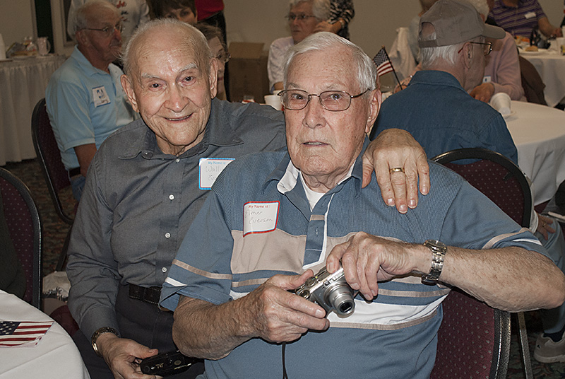 Wally Evance, left, of Norway and Elmer Everson of Marquette have been friends since training camp. they were stationed together in the Pacific and are making them trip to Washington D.C. with the U.P. Honor Flight.