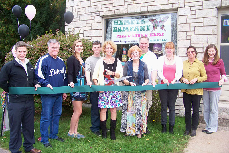 Attending the ribbon cutting celebration for Hempy's Company were (from left to right): Derek Bush, LSCP Business Development Representative, Sam Elder, Marquette County Ambassador, Taylor Ehle, Spencer Aldrich, Penny Aldrich, Pat Jerry, Rob Ehle, Anita Bougie, Christine Pesola, Marquette County Ambassador and Betsy Morais, LSCP Director of Marketing & Communications.
