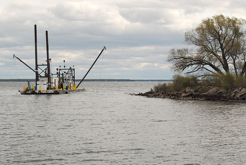 The entrance to the Escanaba Harbor is one of many harbors benefiting this year from emergency dredging funds approved by the state.