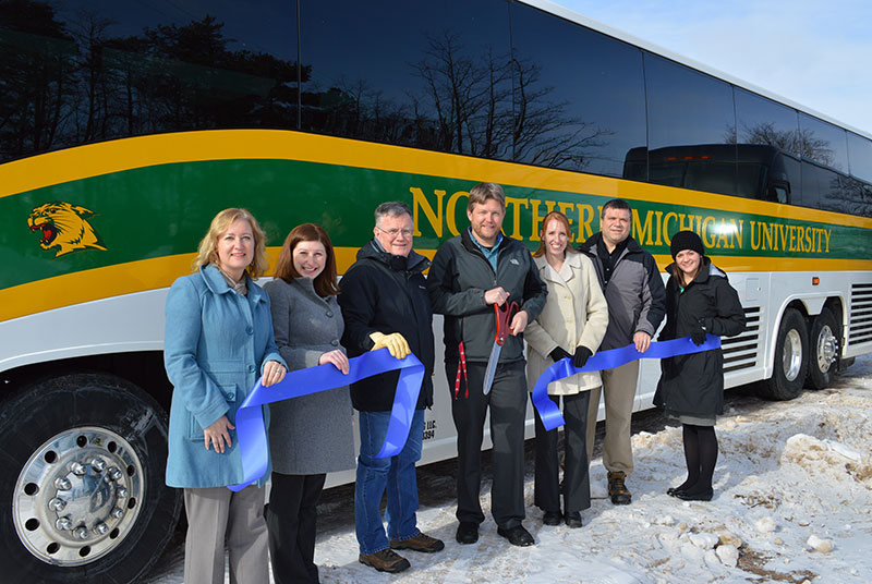 Attending the celebration (from left to right) Michelle Sellers, Marquette County Ambassador, Betsy Morais, LSCP Director of Marketing & Communications, Sam Elder, Marquette County Ambassador, Jesse Schramm, Owner, Laura Schramm, Wife, Greg Casperson, Operations Manager and Denise Elizondo, LSCP Economic Development Liaison.