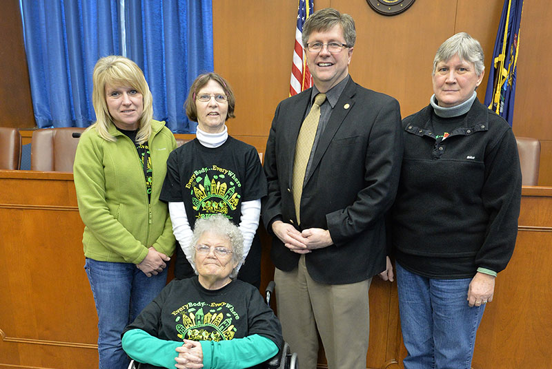 "Annette Vanlerberghe, Bonnie Champeau, Marje Heller and Carol Schiltz pose with State Sen. Tom Casperson of Escanaba after testifying at the Senate Transportation Committee as part of a presentation in support of ""Complete Streets"" concept."
