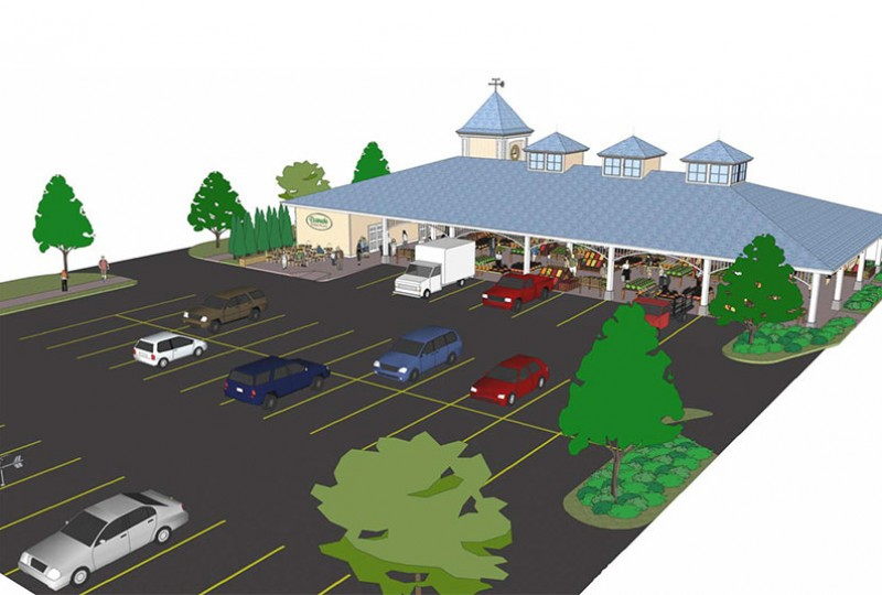 Artitect drawing of Escanaba's proposed city marketplace.