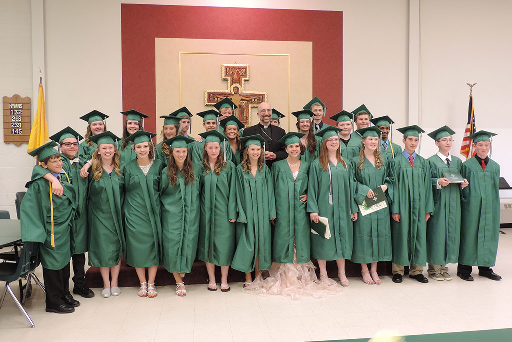Holy Name graduates celebrate with Bishop Doerfler