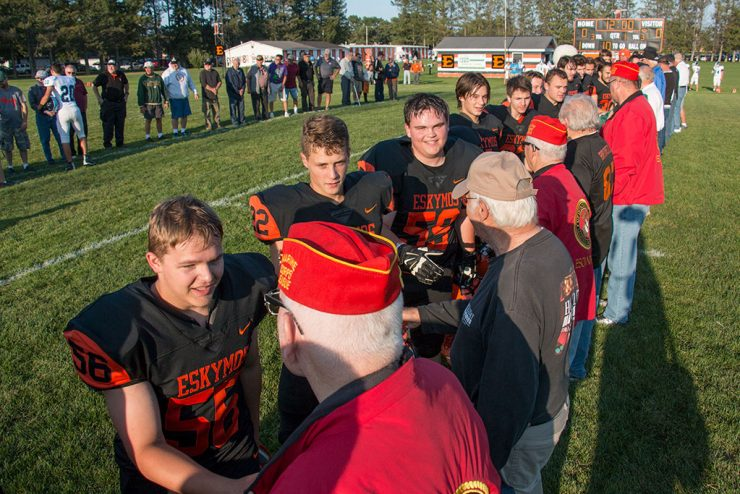 Veterans recognized before Escanaba High School football game