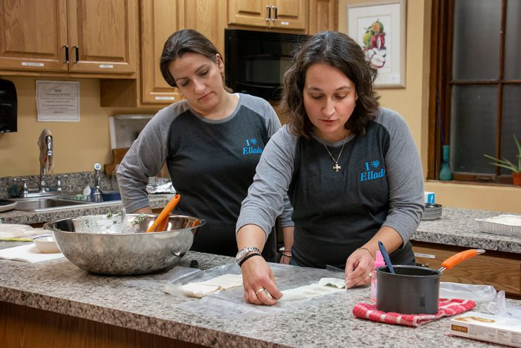 A culinary arts class shows how to prepare Greek food at home